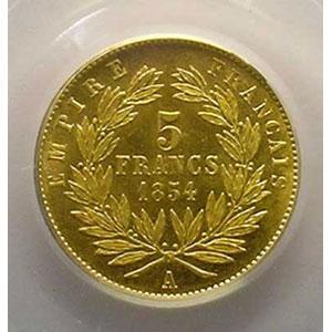 Photo numismatique  Monnaies Monnaies françaises en or 5 Francs G.1000   5 Francs Napoléon III, petit module 1854 A  (Paris)  tranche lisse    PCGS-MS64    pr.FDC