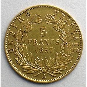 Photo numismatique  Monnaies Monnaies françaises en or 5 Francs G.1001   5 Francs  Napoléon III, grand module 1857 A  (Paris)    TTB