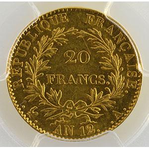 Photo numismatique  Monnaies Monnaies françaises en or 20 Francs G.1020   20 Francs Bonaparte 1er Consul AN 12 A  (Paris)    PCGS-MS61    SUP+