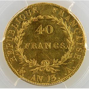 Photo numismatique  Monnaies Monnaies françaises en or 40 Francs G.1081   40 Francs Napoléon Empereur An 13 A  (Paris)    PCGS-MS63    SUP/FDC