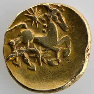 Photo numismatique  Monnaies Monnaies gauloises Bellovaques Statère d'or au long nez pointu    TTB+