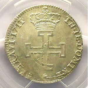 Photo numismatique  Monnaies Monnaies lorraines Duché de Lorraine Léopold I   (1690-1729) Teston 1711 flan réformé    PCGS-AU55    TTB+/SUP