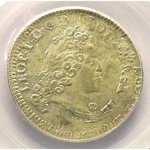 Photo numismatique  Monnaies Monnaies lorraines Duché de Lorraine Léopold I   (1690-1729) Teston 1716 réformé    PCGS-MS62    SUP/FDC