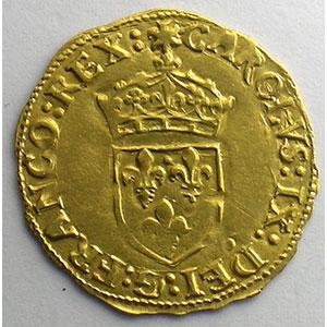 Photo numismatique  Monnaies Monnaies royales françaises Charles IX   (1560-1574) Duplessy 1057   Ecu d'or au Soleil 1566 ou 1568 I  (Limoges)    TTB+/SUP
