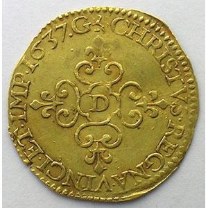 Photo numismatique  Monnaies Monnaies royales françaises Louis XIII   (1610-1643) G.55   Ecu d'or 1637 D  (Lyon)    TTB+