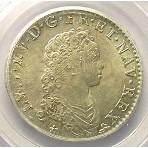 Photo numismatique  Monnaies Monnaies royales françaises Louis XV   (1715-1774) G.308   1/2 Ecu Vertugadin 1716 B  réf.  (Rouen)    PCGS-MS63    SUP/FDC