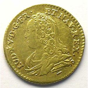 Photo numismatique  Monnaies Monnaies royales françaises Louis XV   (1715-1774) G.329   Demi-Louis d'or aux lunettes 1726 W  (Lille)    TB+/TTB