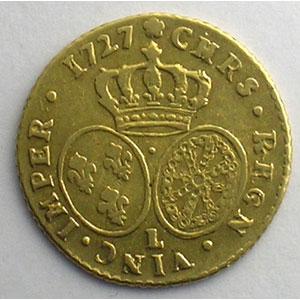 Photo numismatique  Monnaies Monnaies royales françaises Louis XV   (1715-1774) G.329   Demi-Louis d'or aux lunettes 1727 L  (Bayonne)    TTB