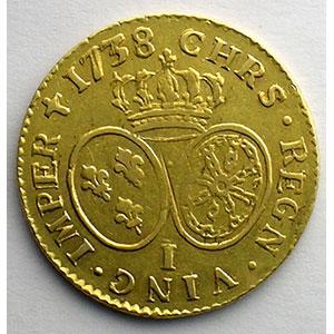 Photo numismatique  Monnaies Monnaies royales françaises Louis XV   (1715-1774) G.340   Louis d'or aux lunettes 1738 I  (Limoges)    TB+