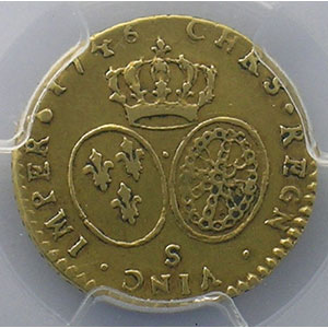 Photo numismatique  Monnaies Monnaies royales françaises Louis XV   (1715-1774) G.330   Demi-Louis d'or au Bandeau 1746 S  (Reims)    PCGS-AU50    TTB/TTB+