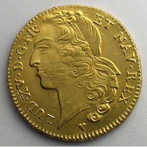 Photo numismatique  Monnaies Monnaies royales françaises Louis XV   (1715-1774) G.346   Double louis d'or au bandeau 1749 BB  (Strasbourg)    TTB+/SUP