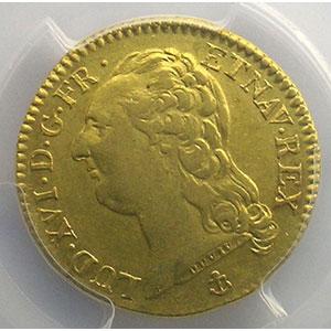 Photo numismatique  Monnaies Monnaies royales françaises Louis XVI   (1774-1792) G.361   Louis d'or au buste nu 1786 H  (La Rochelle)  1er sem.    PCGS-AU55    TTB+/SUP