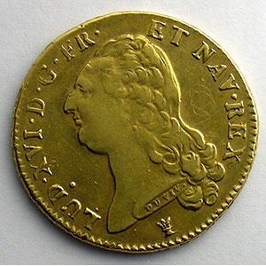 Photo numismatique  Monnaies Monnaies royales françaises Louis XVI   (1774-1792) G.363   Double Louis d'or au buste nu 1786 I  (Limoges)  2° sem.   TTB