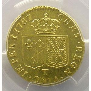 Photo numismatique  Monnaies Monnaies royales françaises Louis XVI   (1774-1792) G.361   Louis d'or au buste nu 1787 T  (Nantes)  2° sem.    PCGS-AU53    TTB+