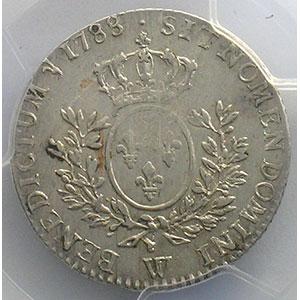 Photo numismatique  Monnaies Monnaies royales françaises Louis XVI   (1774-1792) G.354   1/5 Ecu 1788 W  (Lille)    PCGS-AU53    TTB+