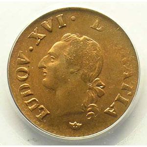 Photo numismatique  Monnaies Monnaies royales françaises Louis XVI   (1774-1792) G.348   Liard 1789 M  (Toulouse)    PCGS-MS64RB    pr.FDC