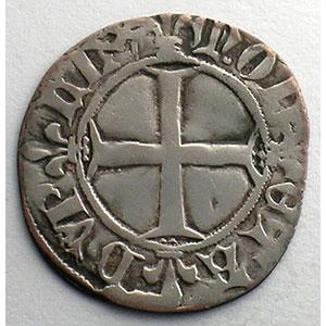 Photo numismatique  Monnaies Monnaies royales françaises Charles VI   (1380-1422) Duplessy 393   Double Tournois 1ère émission   11 mars 1385    TB+