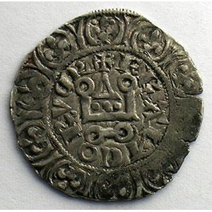 Photo numismatique  Monnaies Monnaies royales françaises Charles IV   (1322-1328) Duplessy 243   Maille blanche 2° émission juillet 1324    TB+