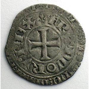 Photo numismatique  Monnaies Monnaies royales françaises Charles V   (1364-1380) Duplessy 363   Blanc au K 20 avril 1365    TB+/TTB