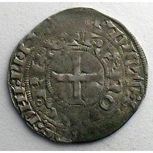 Photo numismatique  Monnaies Monnaies royales françaises Charles IV   (1322-1328) Duplessy 243   Maille blanche 3° émission 24 juillet 1326    TB+