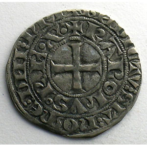 Photo numismatique  Monnaies Monnaies royales françaises Charles IV   (1322-1328) Duplessy 243   Maille blanche 3° émission 24 juillet 1326    TTB