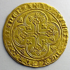 Photo numismatique  Monnaies Monnaies royales françaises Philippe VI   (1328-1350) Duplessy 249   Ecu d'or à la chaise 3° émission   5 janvier 1348    TTB+
