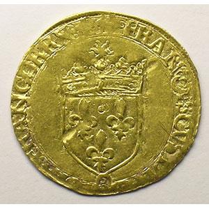 Photo numismatique  Monnaies Monnaies royales françaises François I   (1515-1547) Duplessy 775   Ecu d'or au soleil, 5° type ancre dans la légende  Bayonne    TTB