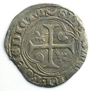 Photo numismatique  Monnaies Monnaies royales françaises Charles VII   (1422-1461) Duplessy 519   Blanc à la couronne croissant et étoile   Chalon-en-Champagne    TB+/TTB