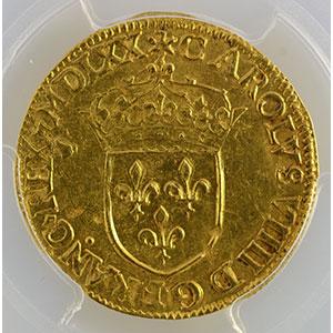 Photo numismatique  Monnaies Monnaies royales françaises Charles IX   (1560-1574) Duplessy 1057   Ecu d'or au Soleil MDLXX (1570) A  (Paris)    PCGS-AU58    SUP