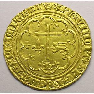 Photo numismatique  Monnaies Monnaies royales françaises Henri VI   (roi de France et d'Angleterre) Duplessy 443A   Salut d'or Paris  (différent couronne)    TTB+