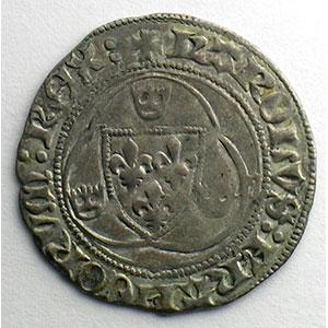 Photo numismatique  Monnaies Monnaies royales françaises Charles VII   (1422-1461) Duplessy 519   Blanc à la couronne point 11°   Saint Pourçain    TB+/TTB