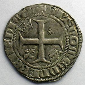 Photo numismatique  Monnaies Monnaies royales françaises Charles VI   (1380-1422) Dupl. 377A   Blanc Guénar, 2° émission Point 16°  Tournai    TTB