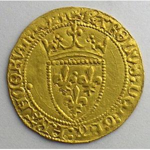 Photo numismatique  Monnaies Monnaies royales françaises Charles VII   (1422-1461) Duplessy 513   Demi Ecu d'or à la Couronne Point 18°  (Paris)    SUP