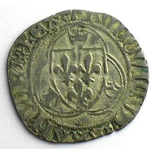 Photo numismatique  Monnaies Monnaies royales françaises Louis XI   (1461-1483) Duplessy 550   Blanc à la couronne Point 19°   Saint Lô    TB+/TTB