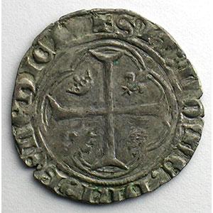 Photo numismatique  Monnaies Monnaies royales françaises Charles VII   (1422-1461) Duplessy 519   Blanc à la couronne point 1er   Crémieu    TB+