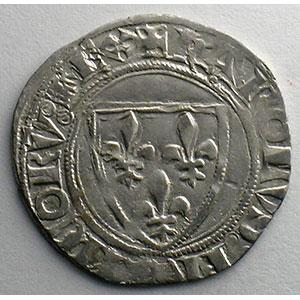 Photo numismatique  Monnaies Monnaies royales françaises Charles VI   (1380-1422) Dupl. 377A   Blanc Guénar, 2° émission Point 2°  ROMANS    TTB