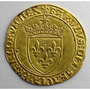 Photo numismatique  Monnaies Monnaies royales françaises Charles VIII   (1483-1498) Duplessy 575   Ecu d'or au soleil Point 21°   Chalon-en-Champagne    TTB+