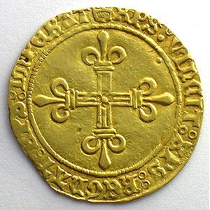 Photo numismatique  Monnaies Monnaies royales françaises Charles VIII   (1483-1498) Duplessy 575   Ecu d'or au soleil Point 4°  Montpellier    TTB