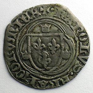 Photo numismatique  Monnaies Monnaies royales françaises Charles VII   (1422-1461) Duplessy 519   Blanc à la couronne point 4°   Montpellier    TTB