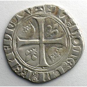Photo numismatique  Monnaies Monnaies royales françaises Charles VI   (1380-1422) Dupl. 377A   Blanc Guénar, 2° émission Point plein sous la première lettre  CREMIEU    TB+/TTB