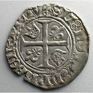Photo numismatique  Monnaies Monnaies royales françaises Charles VI   (1380-1422) Dupl. 377D   Blanc Guénar, 5° émission Point sous la croisette   Paris    TTB