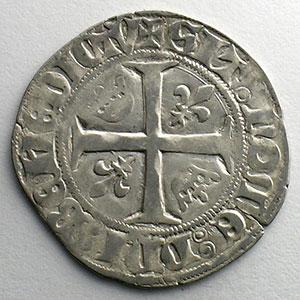 Photo numismatique  Monnaies Monnaies royales françaises Charles VI   (1380-1422) Dupl. 377A   Blanc Guénar, 2° émission sans point d'atelier    TB+/TTB