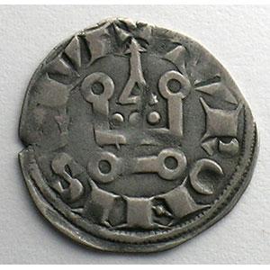 Photo numismatique  Monnaies Monnaies royales françaises Louis VIII   (1223-1226)  ou Louis IX   (1226-1250) Duplessy 188   Denier Tournois TTB