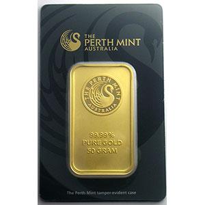 Photo numismatique  Monnaies Or et Argent d'investissement Lingots d'or Lingotin de 50 g Lingotin 50 g or 999,9 mill.   Perth Mint Australia     NEUF sous blister numéroté