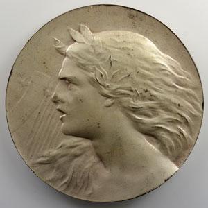 Niclausse Paul   La Musique Guerrière  (1900)   Médaille en argent  60mm   exemplaire numéroté 46 de la SAMF    SUP/FDC