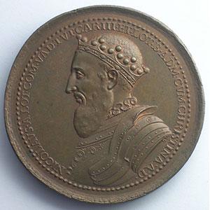 Nicolas de Vaudémont  (Médaille des Régents de Lorraine)   bronze   46 mm    SUP