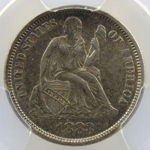 One Dime   Liberté assise   1883 (with Cents)    PCGS-AU58    SUP