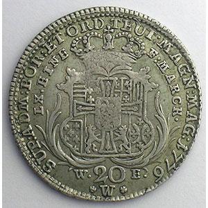 Ordre Teutonique   20 Kreuzer   1776 W E  (Wertheim)    TB+/TTB