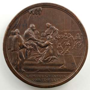 Ottone Hamerani   Médaille en bronze   40mm   (Médaille annuelle de 1751)   Congrès des observateurs franciscains 1750    TTB+/SUP