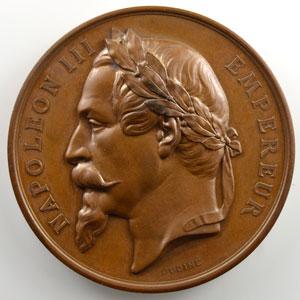 Oudiné/Bellevoye   Médaille en cuivre 51mm   Napoléon III   Concours Régional Agricole de Metz   1868    FDC